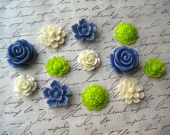 Magnets, 12 pc Flower Magnets, Cornflower Blue, Ivory, Lime Green, Locker Magnets, Housewarming Gifts, Hostess Gifts, Wedding Favors