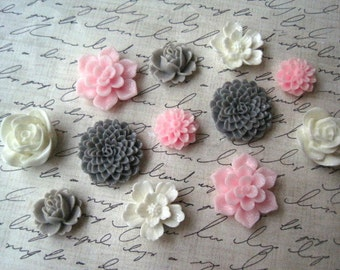 Pretty Magnets, 12 pc Flower Magnets in Pink, White and Gray, Kitchen Decor, Housewarming Gifts, Hostess Gifts, Wedding Favors