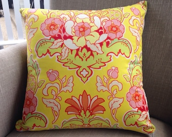 """Heather Bailey Pop Garden """"Pineapple Brocade"""" in yellow 45cm cushion cover/pillow backed with EST linen"""