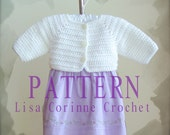 Baby Girl Sweater Crochet PATTERN, Baby Shrug Sweater PATTERN, Crochet Sweater