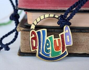 Christian Jewelry - Alleluia Pendant Necklace - Religious Jewelry - Christian Gift - Terra Sancta Guild- Sunday School Teacher Gift -Vintage
