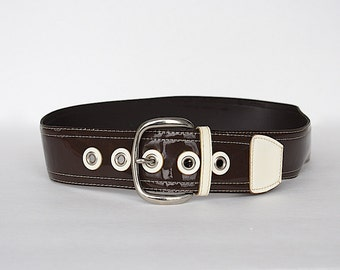 Vintage Belt - Wide Belt - Brown & Beige Belt - 1960s Fashion - Retro Belt - Women's Belt - Two Tone Belt - 1960s Costume Accessory
