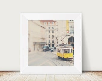 lisbon photograph yellow tram photograph travel photography portugal photograph yellow decor urban print lisbon print