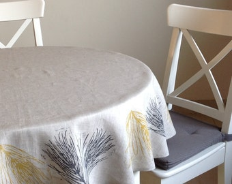 Block printed linen round tablecloth, lino block printed featuring Field Horsetail in dark grey and autumn yellow