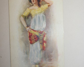 Vintage belly dancer postcard