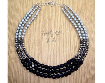 Black and Silver Color Block Necklace