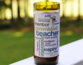 Teacher Gift wordle recycled soy wine candle - Brandied Pear