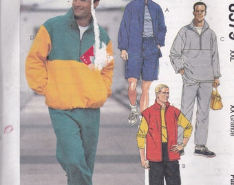McCalls 8579 Vintage Pattern Mens Unlined Jacket, Vest, Pull On Top, Pants and Shorts Size XX Lg (50-52) UNCUT