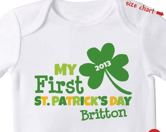 baby's first st patrick's day bodysuit or shirt - personalized new baby gift - Personalized st. patrick's day Outfit