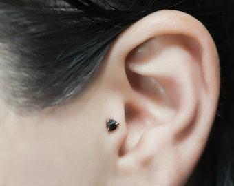 Dainty Black Diamond Stud, Black Diamond Stud Earring, Mini Black Diamond Stud, Tiny Diamond Earrings