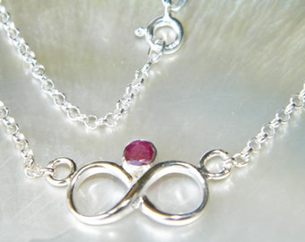 Handcrafted Infinity Symbol Necklace .925 Sterling Silver 4 mm 0.4 ct Natural Red Ruby Gemstone