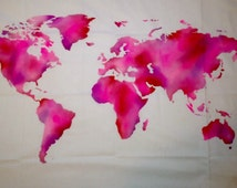 World Map Wall Tapestry, Shades of Pink, Brush Stroke, Water Color Effect