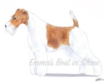 WIre Fox Terrier Dog - Archival Fine Art Print - AKC Best in Show Champion - Breed Standard - Terrier Group - Original Art Print
