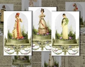 Regency ladies fashion Jane Austen printable digital images vintage collage sheet for scrapbooking crafts and altered art