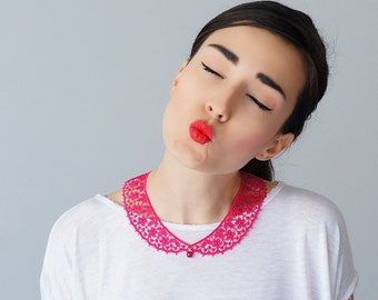 Summer Party Summer Outdoors Pink Collar Lace Collar Peter Pan Collar Lace Accessory Women Accessory Gift For Her / MASERIS