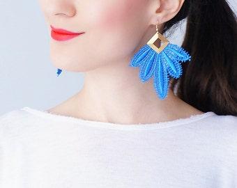 Blue Earrings Statement Earrings Lace Earrings Boho Earring Long Earrings Leaf Earrings Fashion Earrings Gift For Her / CLAVESA