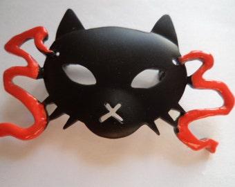 Vintage Signed JJ  Black Cat Mask Brooch/Pin