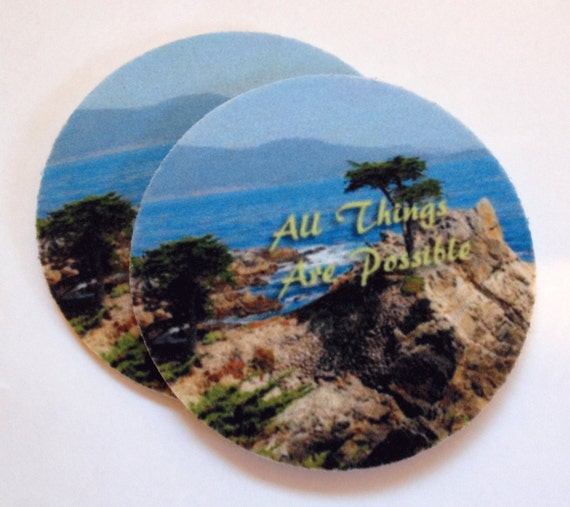 Absorbent coaster set all things are possible by spreadblessings - Drink coasters absorbent ...