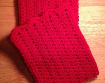 Crochet, Boot Cuffs, Red, Cherry Red