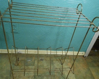 Vintage Atomic Wire Metal Record Plant Stand Table Brass Colored Madmen