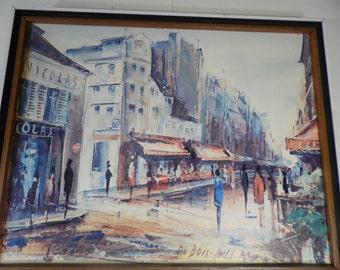 Vintage   Lithograph Du Bois Paris 70 Figural Modern Art Street Scene City Scape