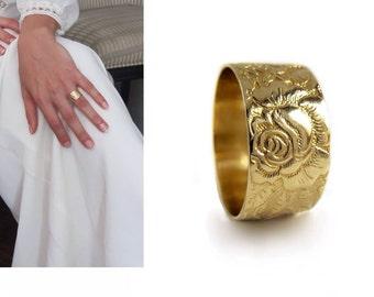 14k yellow Gold wedding band women wide wedding ring