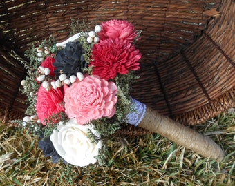 Wedding bouquet, sola bouquet, bridal bouquet, pink, dark gray and ivory sola flower bouquet