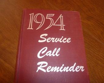 A 1954 Service Call Reminder Book