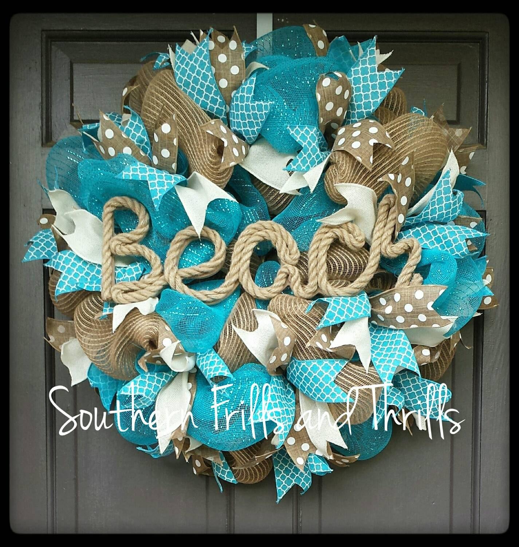 Deco Mesh Wreath Beach House Wreath Wreath Summer Deco Mesh