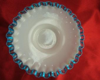 Fenton Blue Ruffled Dish