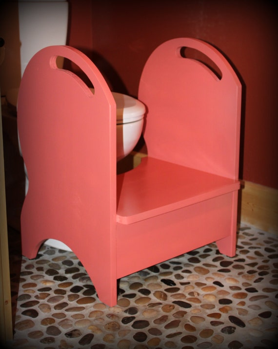 Deluxe Wood Potty Step Stool Coral Isle