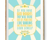 Roald Dahl Quote about Sunbeams - Cute Print for a Little Girls Bedroom in Blue and Yellow - Instant Download Wall Art