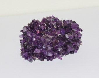 Wide Gemstone Stretch Bracelet Purple Amethyst                                       - S749
