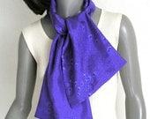 Ultramarine Scarf, Blue Purple Scarf,  Indigo Violet, Men Silk Scarf, Men Unisex Scarf, Hand Painted Silk, Artist Handmade, Jossiani