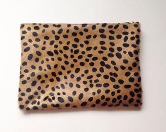 Medium Cheetah Print Calf Hair Leather Clutch