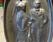 Vintage Ashtray Silver Cast Iron Funny Amusing 2 Sided Plaque for Home Bar Office Accessories Home Decor Home Living