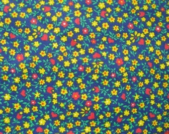 Navy Multicolor Miniprint Fabric 2 YARDS Floral Red Yellow Green By the yard Cotton Quilting Crafts Blanket Tiny Flowers