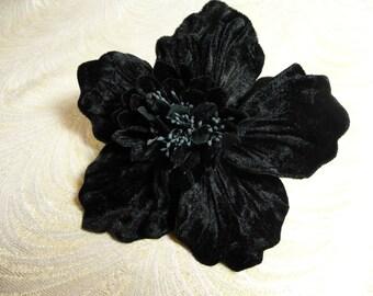 Large Velvet Poppy Millinery Flower Black for Hats Corsage Brooch Fascinator 3FN0094BK