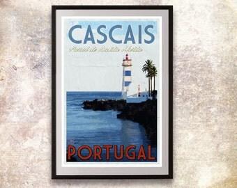 Portugal - Cascais Retro Travel Poster