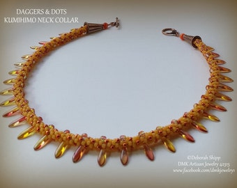 "TUTORIAL ONLY - ""Daggers and Dots"" Kumihimo Necklace"