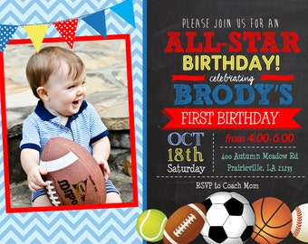 Chalk All-star Sports Birthday Printable Invitation, Sports birthday invitation, Sports Birthday invite