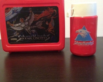 1986 Silver Hawks Plastic Lunch Box and Thermos