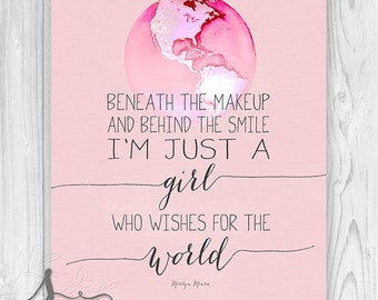 Marilyn Monroe Quote Art : Beneath the Makeup Typography Art - Typography Quote - Home Decor Wall ART PRINT