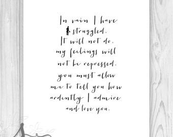 Jane Austen Quote: Pride and Prejudice - Mr Darcy Romantic Excerpts - Typography Print - Home Decor Wall 8x10 ART PRINT