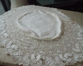 Antique round small lace tablecloth from the Admiral Pacific Steam Ship Co.
