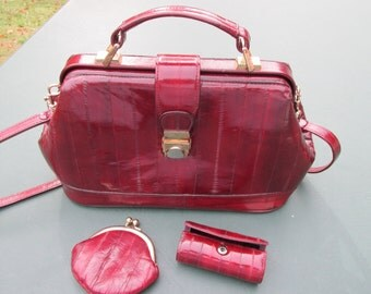 Eel Skin Purse, Change Purse and Lipstick Case - Bags Purses - Shoulder Bag - Accessories - Handbags - Top Handle Bags