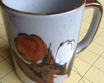 Vintage Otagiri Red & White Tulip Mug