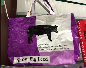 Upcycled FarmSwag Feedbag Tote. Show Pig Feed- Handmade in Kalispell, Montana USA. FREE USA Shipping