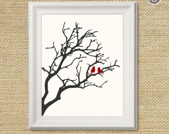 Printable wall art decor print, Birds in a Tree print in red, silhouette branch with birds digital image, INSTANT DOWNLOAD