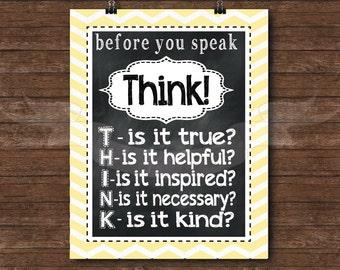 Yellow - Think before you Speak Chalkboard Print, typography, subway art, children, playroom, bedroom